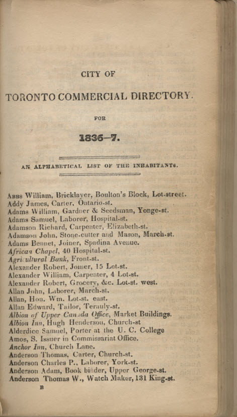The City of Toronto and the Home District commercial directory and register with almanac and calendar for 1837