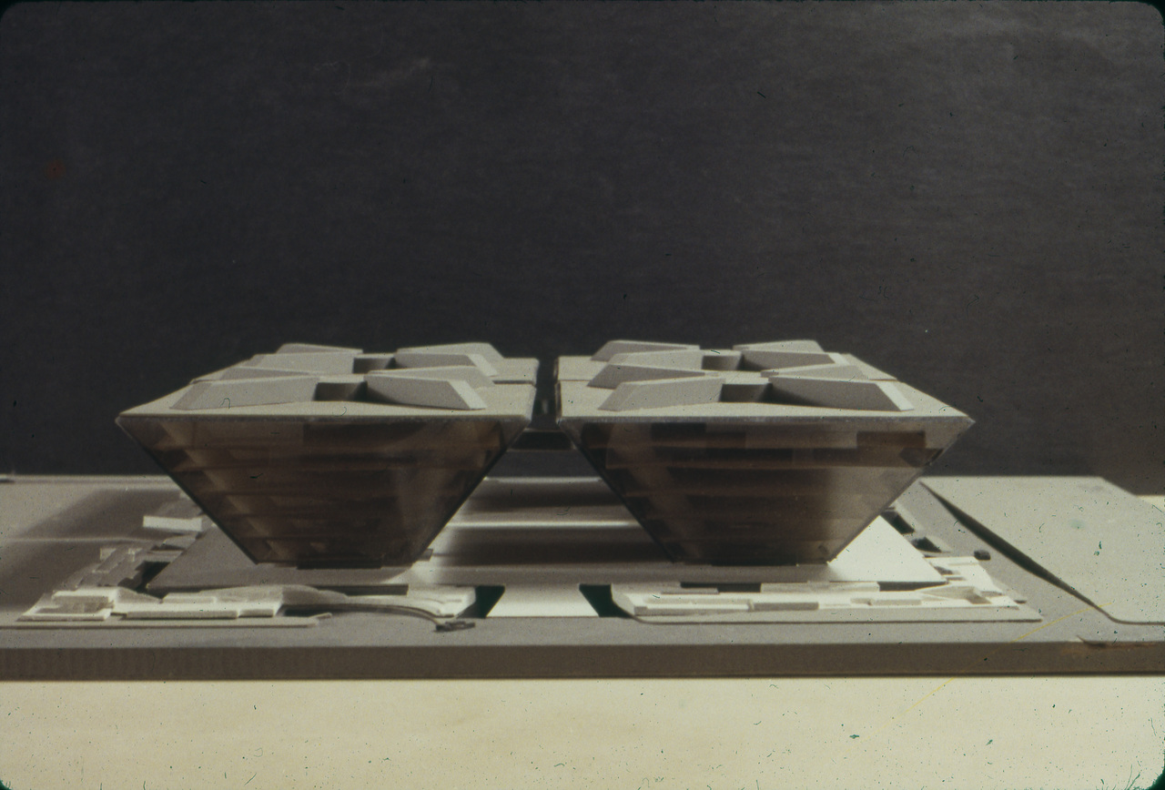 Lam, Pacheco and Wong entry, City Hall and Square Competition, Toronto, 1958, architectural model