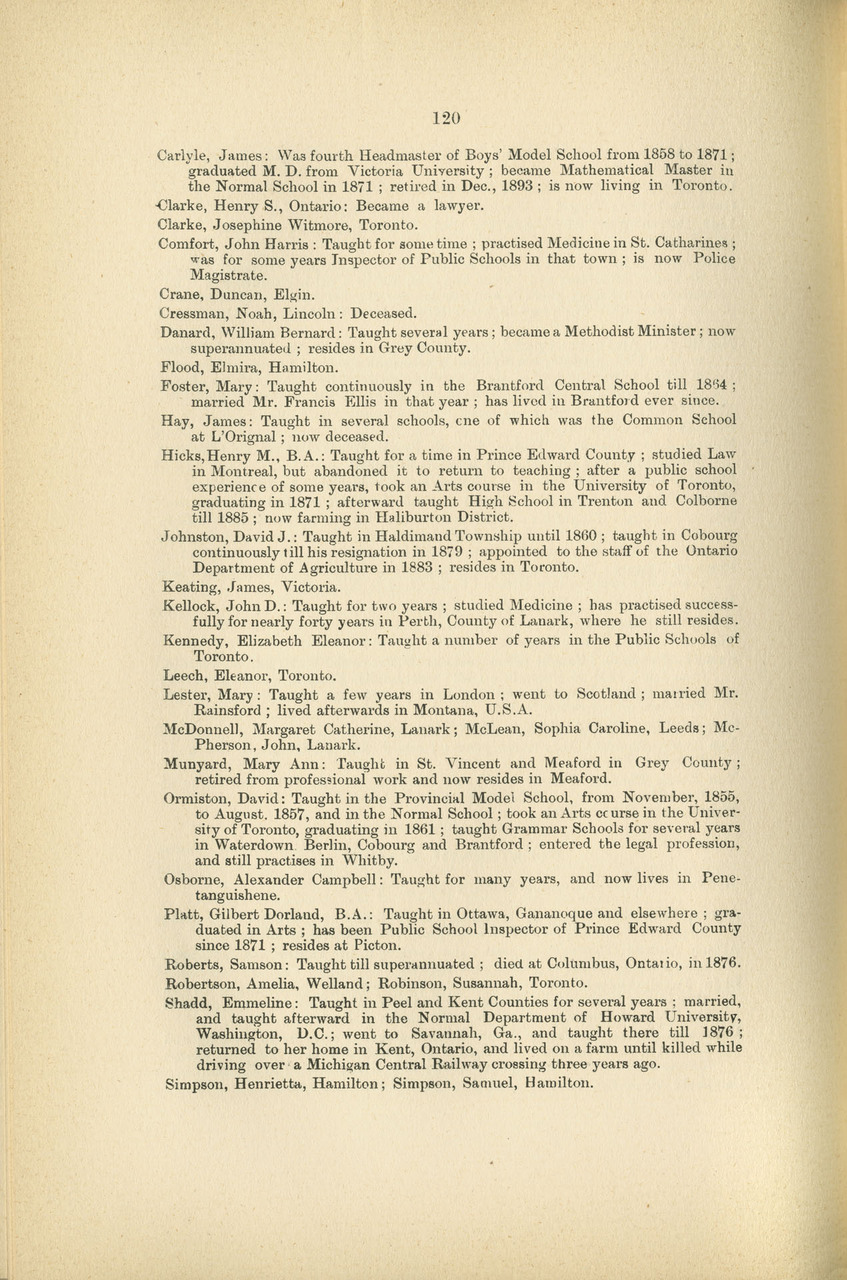 1847-1897; Toronto Normal School jubilee celebration (October 31st, November 1st and 2nd, 1897), biographical sketches and names of successful students, 1847-1875