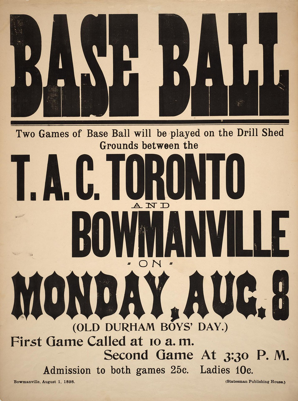 Poster for baseball game between T.A.C. Toronto and Bowmanville