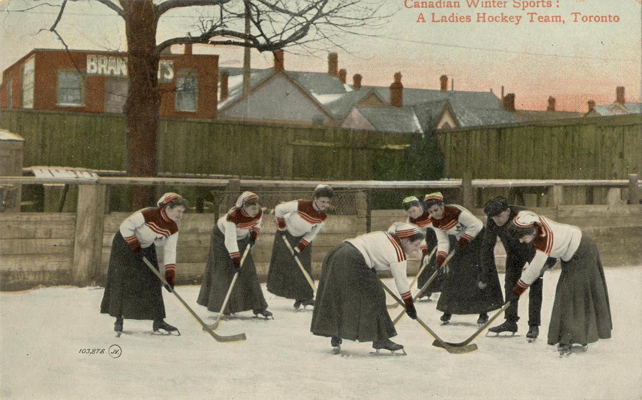 Canadian winter sports: A ladies hockey team, Toronto