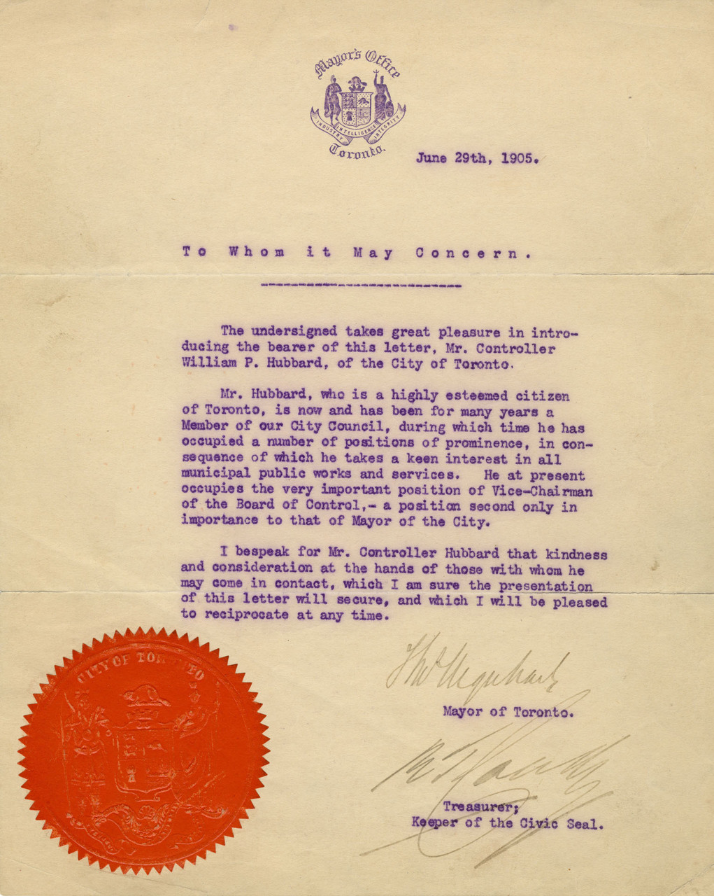 Letter Certificate by Thomas Urquhart, Mayor of Toronto to William P. Hubbard