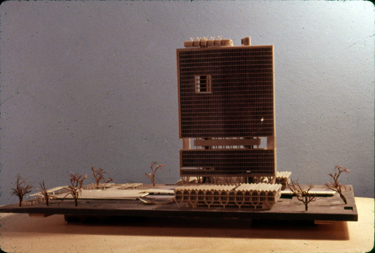 Achyut P. Kanvinde entry, City Hall and Square Competition, Toronto, 1958, architectural model