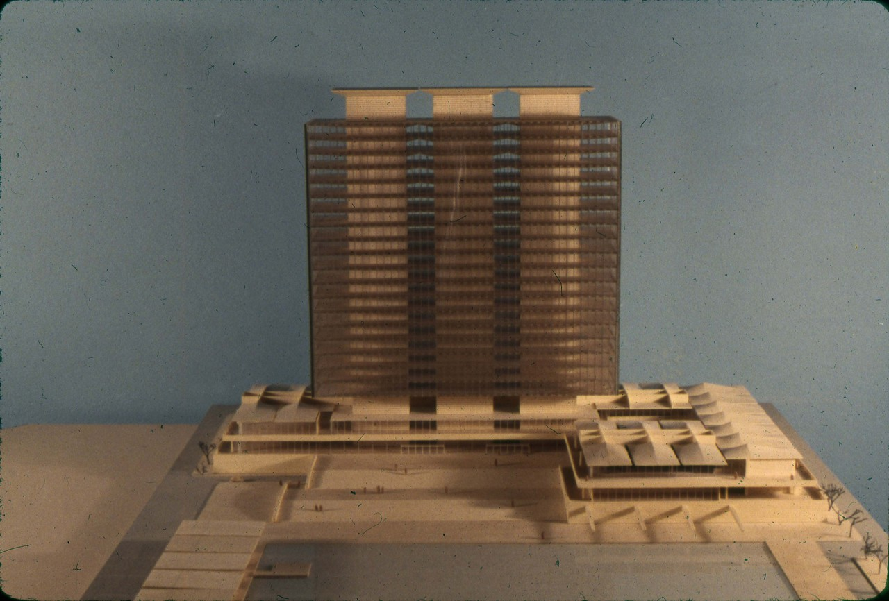 Halldor Gunnlogsson & Jorn Nielsen entry, City Hall and Square Competition, Toronto, 1958, architectural model