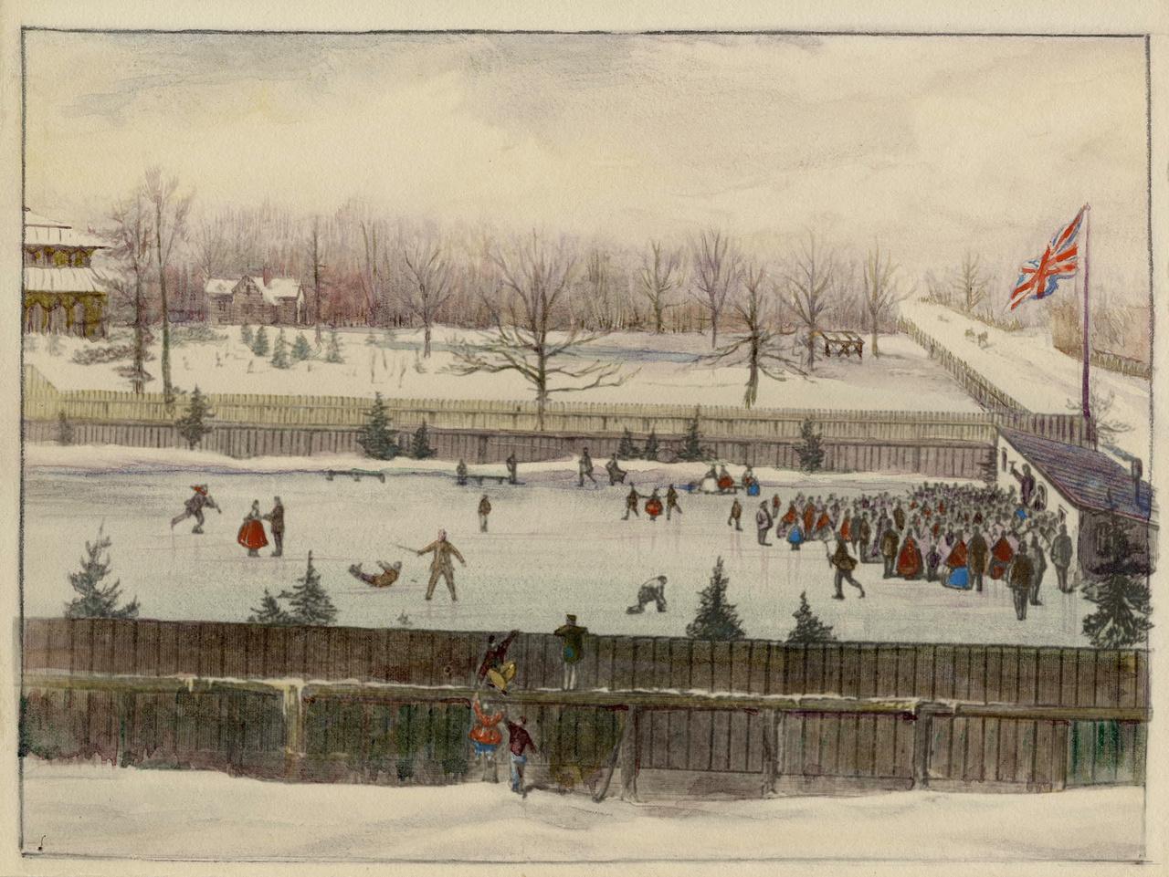 Victoria Skating Rink, Gerrard St. E., s.w. cor. Sherbourne St.; looking n., Allan Gardens immediately behind rink.