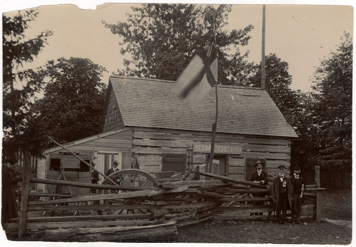 York Pioneer and Historical Society with Thornton Blackburn's cab in front of the Scadding Cabin