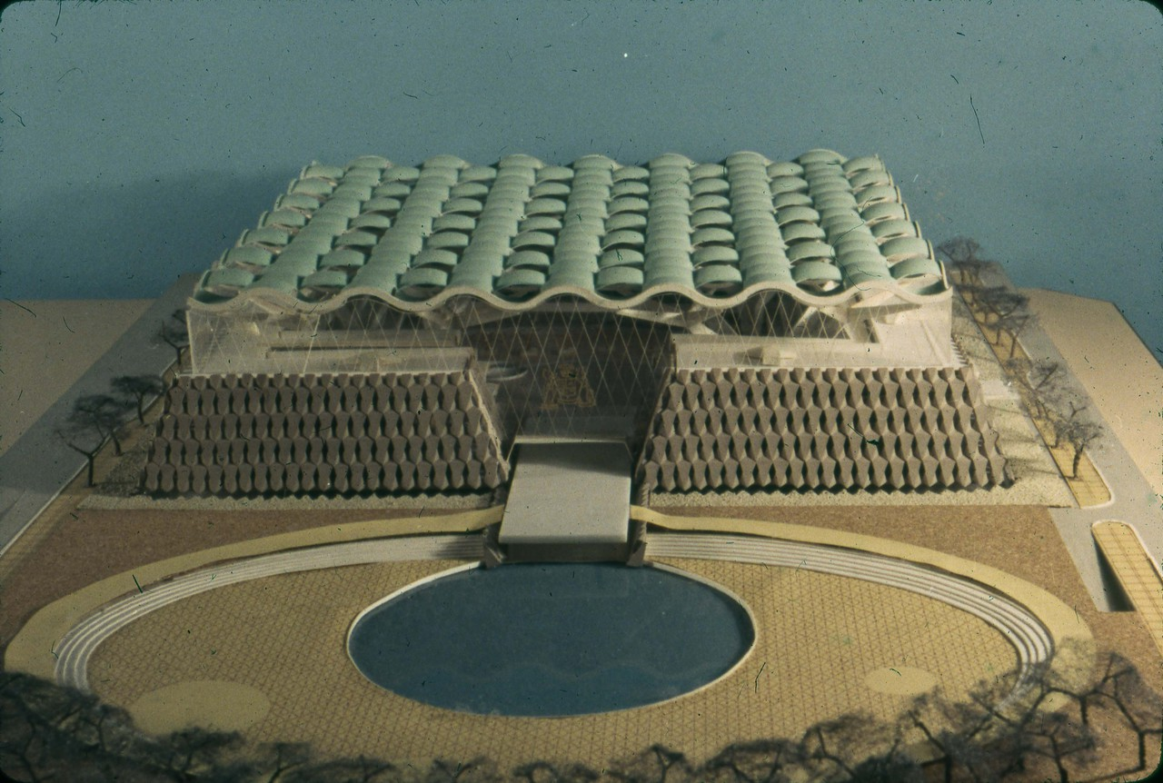 John H. Andrews entry, City Hall and Square Competition, Toronto, 1958, architectural model