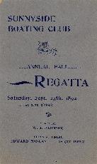 Sunnyside Boating Club Annual Fall Regatta Saturday, Sept. 24th 1892