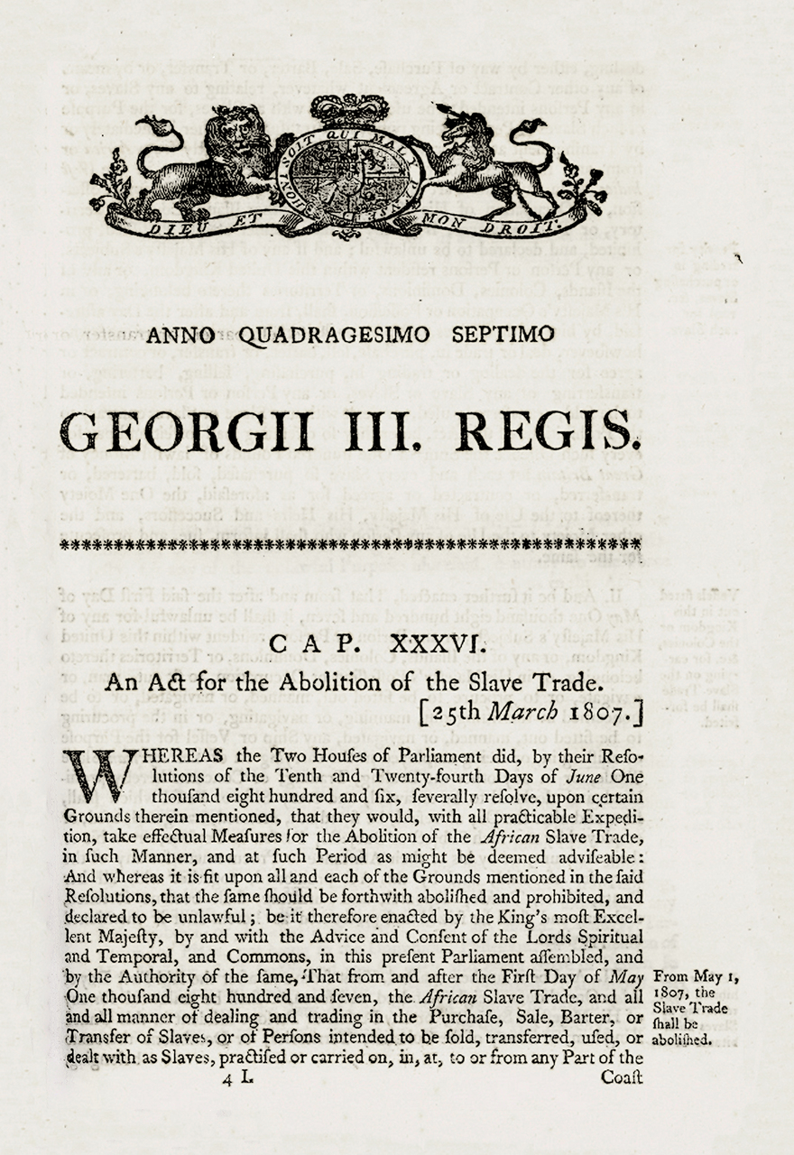 Act for the Abolition of the Slave Trade, 1807