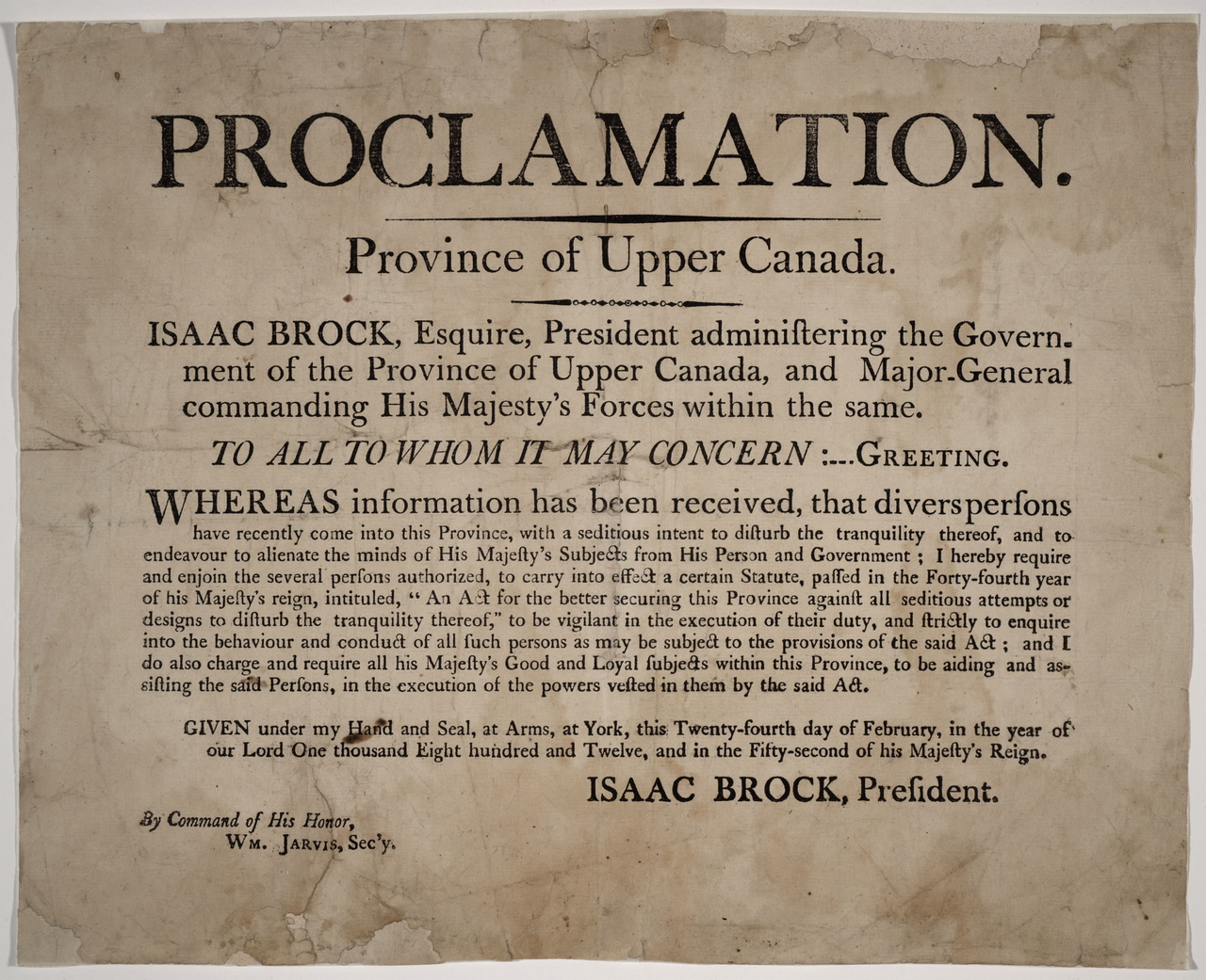 Proclamation, Province of Upper Canada