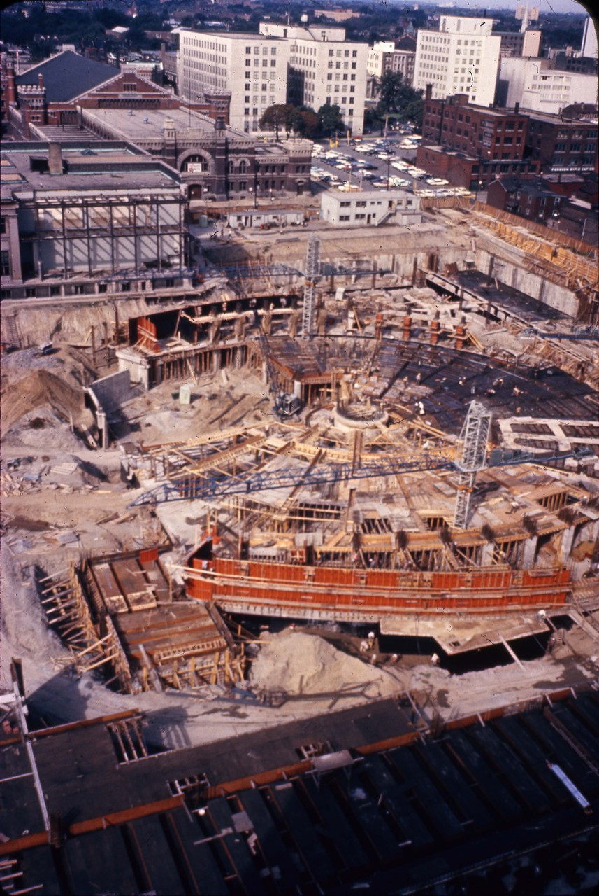 Construction site of new City Hall, ca. 196-