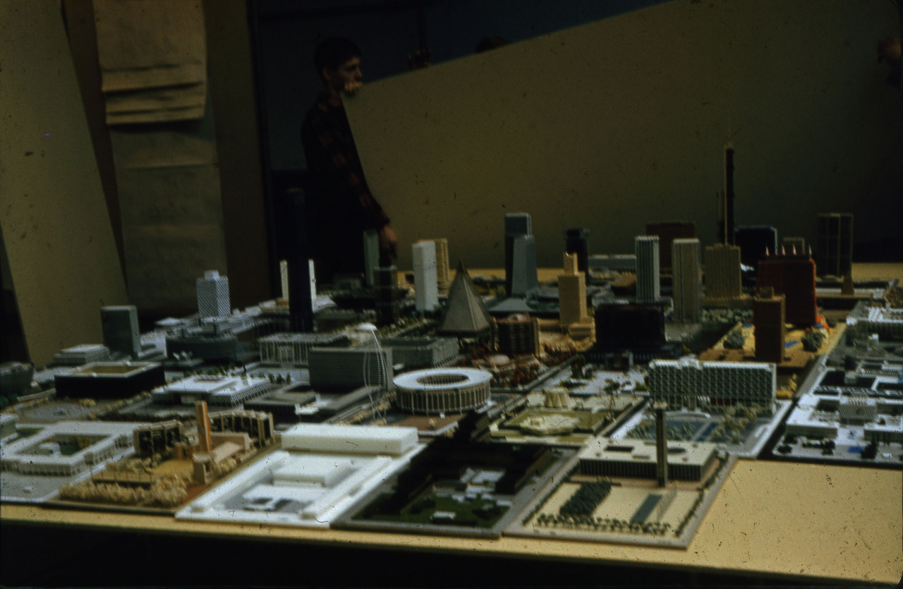 Architectural models at Horticultural Building for City Hall and Square Competition, Toronto, 1958