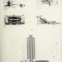 Halldor Gunnlogsson & Jorn Nielsen entry, City Hall and Square Competition, Toronto, 1958, four persepctive drawings and section