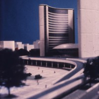 Viljo Revell entry, City Hall and Square Competition, Toronto, 1958, architectural model in situ, Stage two
