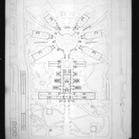 Z. K. Kaplan entry City Hall and Square Competition, Toronto, 1958, floor plan of hall and square with Council Chamber, mayor and chairman's offices, library and government offices