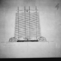 Christopher Owtram entry City Hall and Square Competition, Toronto, 1958, front elevation