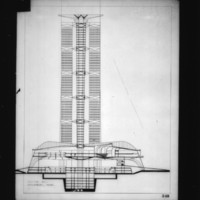 Alain Bourbonnais entry City Hall and Square Competition, Toronto, 1958, section hall government area