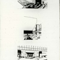 Frank Mikutowski entry, City Hall and Square Competition, Toronto, 1958, three perspective drawings