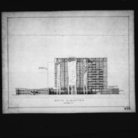 Anthony J. Varnas entry City Hall and Square Competition, Toronto, 1958, south elevation drawing
