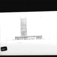 Huson Jackson and JacquelineTyrwhitt entry City Hall and Square Competition, Toronto, 1958, south elevation