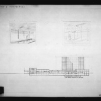 Z. K. Kaplan entry City Hall and Square Competition, Toronto, 1958, section and perpectives of interior