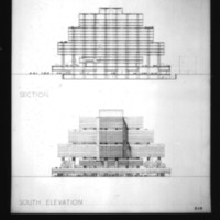 Wilhelm Holzbauer entry City Hall and Square Competition, Toronto, 1958, section drawing and south elevation drawing