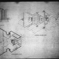 Leslie P. Cruise Jr. entry City Hall and Square Competition, Toronto, 1958, section drawing and two floor plans