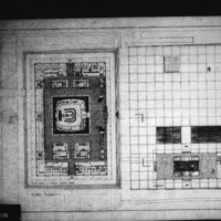 David Horne entry City Hall and Square Competition, Toronto, 1958, first floor plan with Council Chamber and library