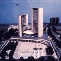 Viljo Revell entry, City Hall and Square Competition, Toronto, 1958, architectural model, stage two
