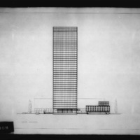 Dobush and Stewart entry City Hall and Square Competition, Toronto, 1958, south elevation