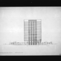 John C. Parkin entry City Hall and Square Competition, Toronto, 1958, longitudinal section