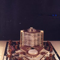 Leslie P. Cruise, Jr. entry, City Hall and Square Competition, Toronto, 1958, architectural model