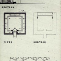 John H. Andrews entry, City Hall and Square Competition, Toronto, 1958, two floor plans and a section drawing