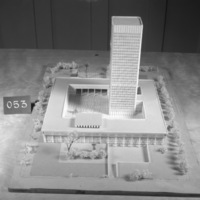 Huson Jackson and Jacqueline Tyrwhitt entry, City Hall and Square Competition, Toronto, 1958, architectural model