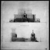 Cass Gilbert Jr. entry City Hall and Square Competition, Toronto, 1958, south elevation and west elevation