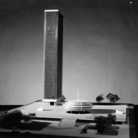 Jones, Harding and Gorgoloewsk entry, City Hall and Square Competition, Toronto, 1958, architectural model