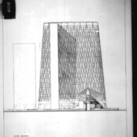 Balkrishna V. Doshi entry City Hall and Square Competition, Toronto, 1958, south elevation