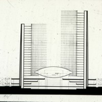 Viljo Revell entry, City Hall and Square Competition, Toronto, 1958, section, stage two