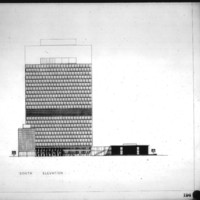Bregman and Hamann entry City Hall and Square Competition, Toronto, 1958, south elevation
