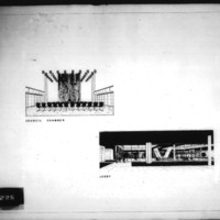 Frank Mikutowski entry City Hall and Square Competition, Toronto, 1958, perspective drawing of council chamber and lobby