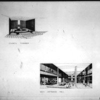 Bregman and Hamann entry City Hall and Square Competition, Toronto, 1958, council chamber and main entrance hall