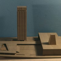 Kenzo Tange entry, City Hall and Square Competition, Toronto, 1958, architectural model