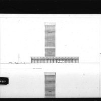 Huson Jackson and Jacqueline Tyrwhitt entry City Hall and Square Competition, Toronto, 1958, east elevation and section looking west, part 1 of 2