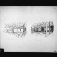 Dimitri Dimakopoulos entry City Hall and Square Competition, Toronto, 1958, perspective drawings inside council chamber and public area