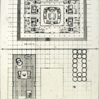 David Horne entry,  City Hall and Square Competition, Toronto, 1958, floor and square plans