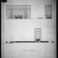 William Hayward and Associates entry City Hall and Square Competition, Toronto, 1958, sections of office block