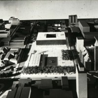 David Horne entry, City Hall and Square Competition, Toronto, 1958, architectural model in situ
