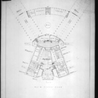 C. C. Wilkie entry City Hall and Square Competition, Toronto, 1958, main floor plan