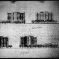 Leslie P. Cruise Jr. entry City Hall and Square Competition, Toronto, 1958, elevation drawings