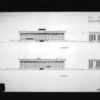 Nobuo Hozumi entry City Hall and Square Competition, Toronto, 1958, south side elevation and east side elevation